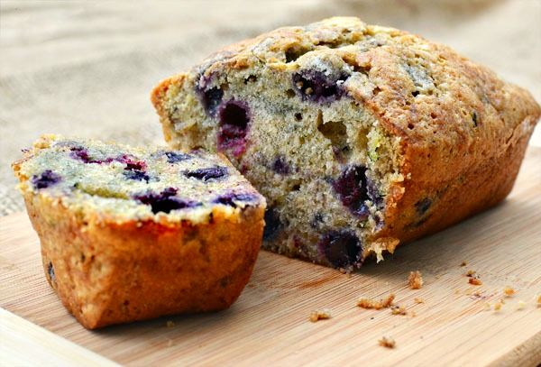 """Blueberry Zucchini Bread .......................... (Made this on 7/30/12... in the form of 12 muffins and a regular sized loaf. SO GOOD! Subbed egg beaters for regular eggs, 2/3 c agave syrup for 1 cup of the sugar, & used whole grain white flour. Tommy says """"you can't even taste the zucchini"""". Yes dear, that's the point.)"""