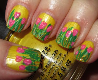 Pink tulips: Easter Tulip, Easter Yellow, Google Search, Easter Art, Tulip Nails, Easter Nails Art, Flowers Nails, Nail Art, Pink Tulips