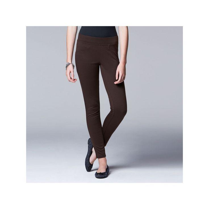 Simply Vera Vera Wang Solid Ponte Leggings, Women's, Size: Medium, Dark Brown