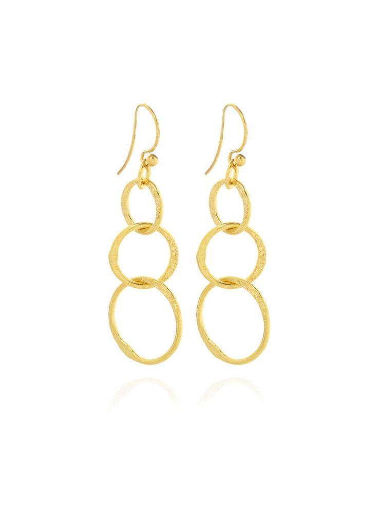 BLY Gouden oorbellen met drie ringen • de Bijenkorf