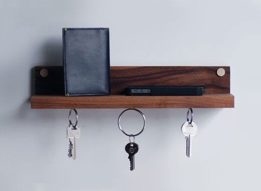 Magnetic key ring holder shelf
