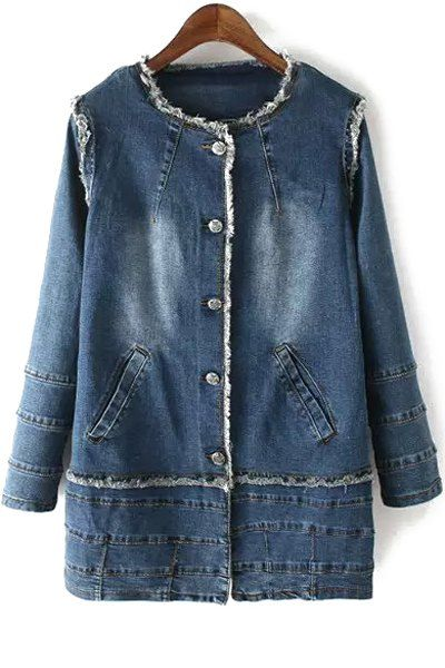Bleach Wash Round Collar Long Sleeve Denim Coat