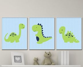 Baby Boy Nursery Art Print, Dinosaur Wall Art Prints, Blue Green Nursery Prints, Baby Boy Nursery Wall Art Print Bedroom Decor H285  This listing is for 3 art prints only - frame not included.   These prints are professionally printed on high quality heavyweight matte paper with archival inks. Please be aware that color variations may occur due to the differences in computer monitors.  IF YOU WOULD LIKE TO CUSTOMIZE YOUR PRINTS: When checking out, please leave a message in the  Note to…