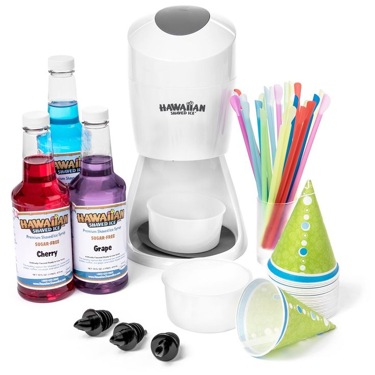 Hawaiian Shaved Ice SF144 Sugar-Free & Snow Cone Package with Machine Syrup & Accessories, White