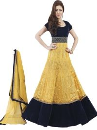 Buy Gorgeous Yellow Color Embroidered Semi-Stitched Suit