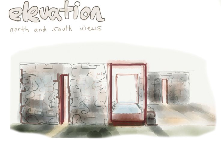 Initial sketch for Byron Hilltop Garden rock wall and rusted steel sculptures