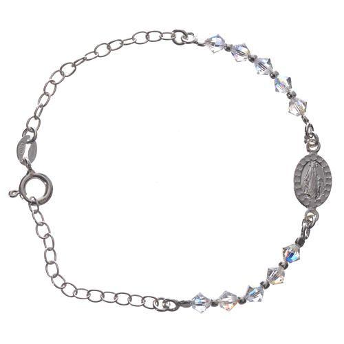 1b1edfacff8e Decena pulsera Plata 800 medalla Swarovski blanco 4 mm  pulsera  pulseras   bracelet
