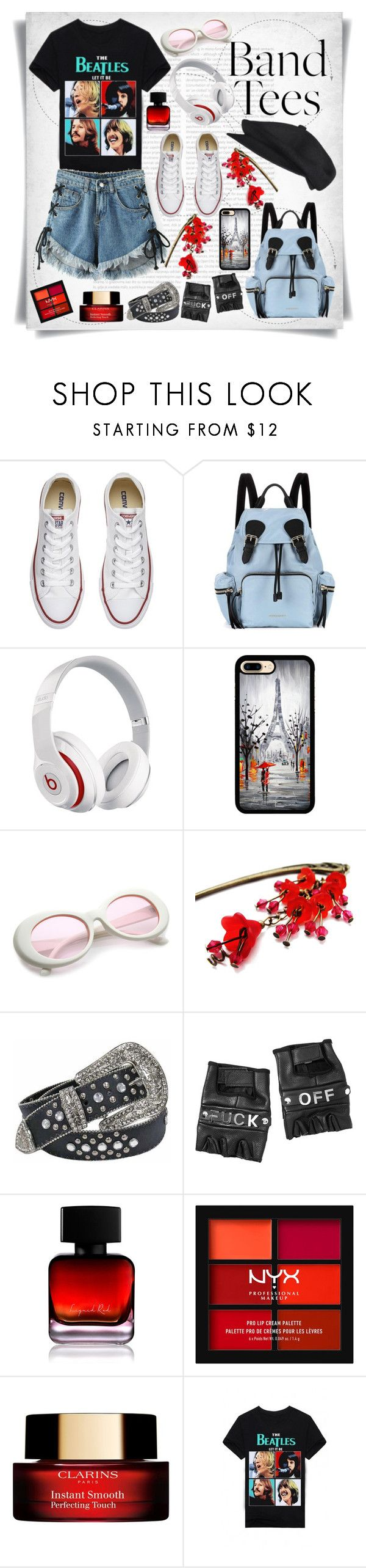 """""""I'm With the Band: Band T-Shirts"""" by imbeauty ❤ liked on Polyvore featuring Oris, Converse, Burberry, Beats by Dr. Dre, Funk Plus, The Collection by Phuong Dang, NYX, Clarins, WithChic and bandtees"""