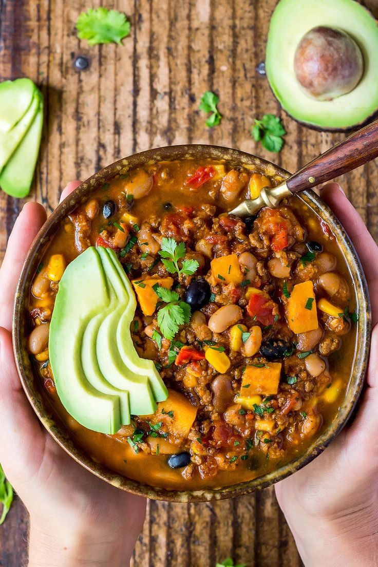 This amazing Instant Pot Chili is guaranteed to satisfy any comfort food cravings! The optional twist for Southwest Chili includes sweet potatoes and corn for a delicious sweet & spicy flavor kick. ~~~~ Electric Pressure Cooker | Stew | Recipe | Soaked Beans | Ground Beef | Fall | Winter | Hearty | Black Beans