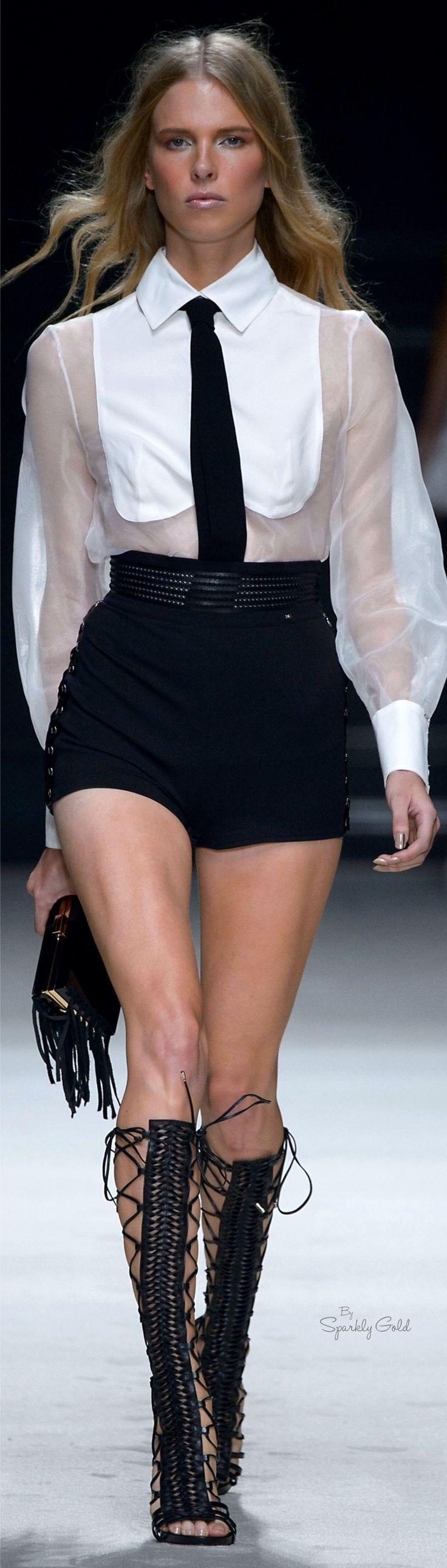 Elisabetta Franchi S-16 RTW: white blouse, black shorts.: