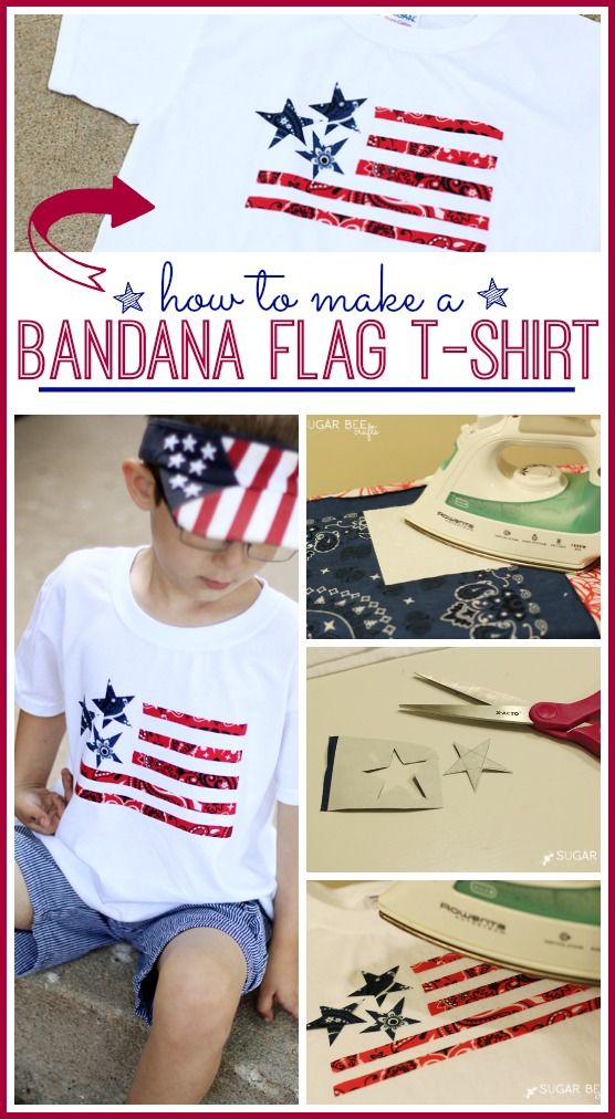 How to make a bandana flag t-shirt cute for july 4th, memorial day or any other patriotic holiday!