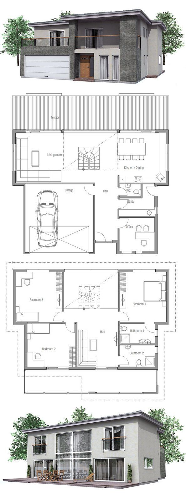 Modern House with three bedrooms and double garage. Floor Plan from ConceptHome.com
