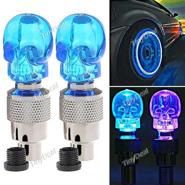 2 x Skull Valve Cap LED Light Wheel Tyre Lamp for Car Vehicle Motorbike Motorcycle Bike - Color Assorted FLD-61349