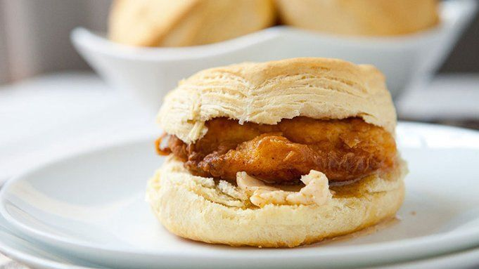 Simple, spicy fried chicken on biscuits with spicy maple butter! - This looks soooo good!  I would have like 2 of these for breakfast the next day!!