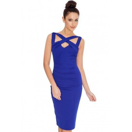 Kobaltowa wyszczuplająca sukienka ołówkowa z efektownym dekoltem