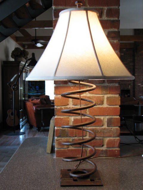 Vintage Industrial Table Lamp with Linen Shade by SnodonIron, $350.00