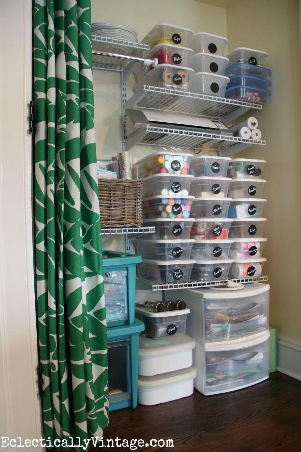 Craft Supply Organization Tips - love the DIY chalkboard labels eclecticallyvintage.com