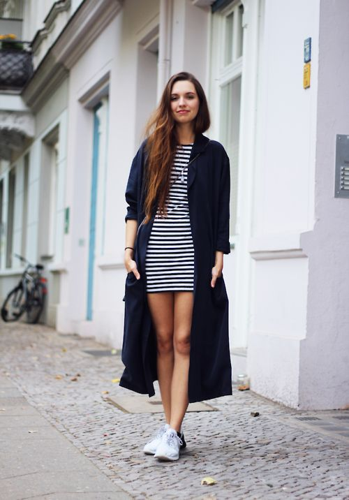 #style #street style #fashion #outfit #coat #dress #stripes #Converse