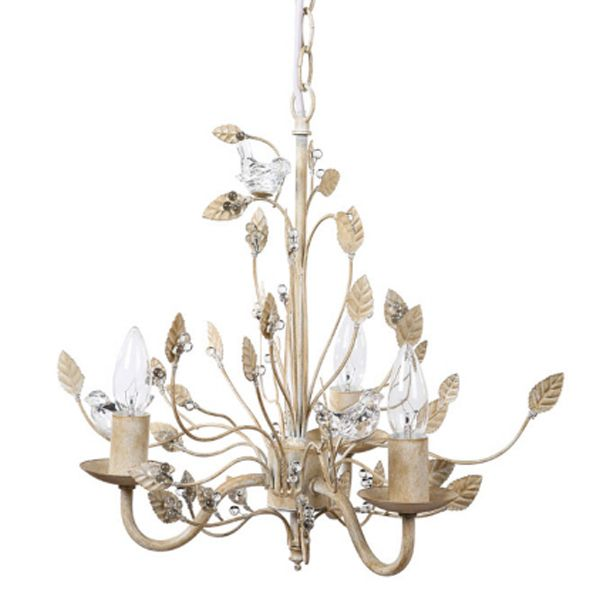 Creative Co Op Metal Chandelier With Glass Birds 16 Length By Height Cream