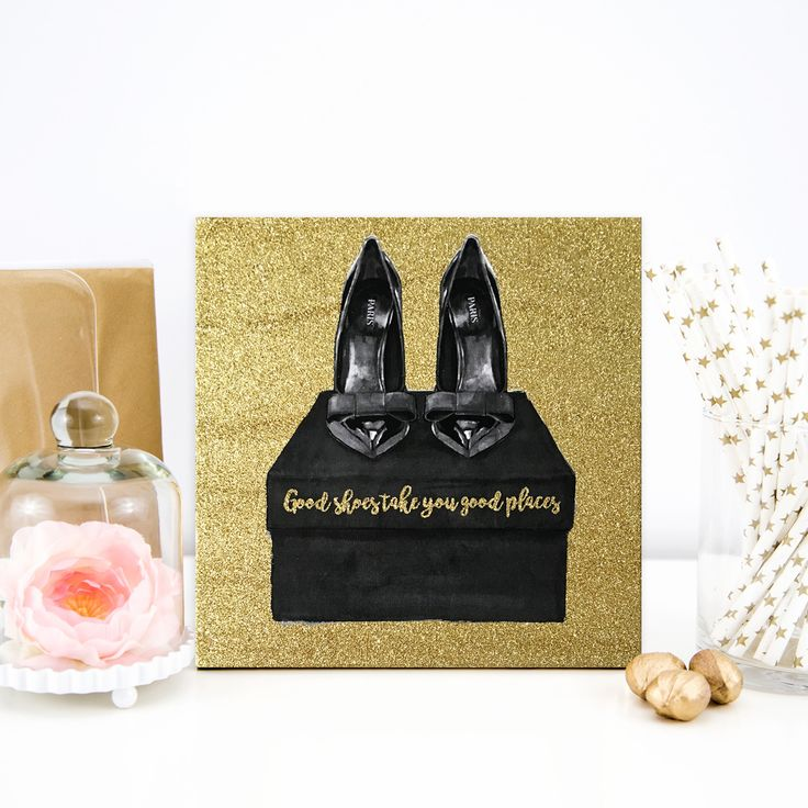 Good Shoes Take You Good Places' Glitter Canvas Art, Beige