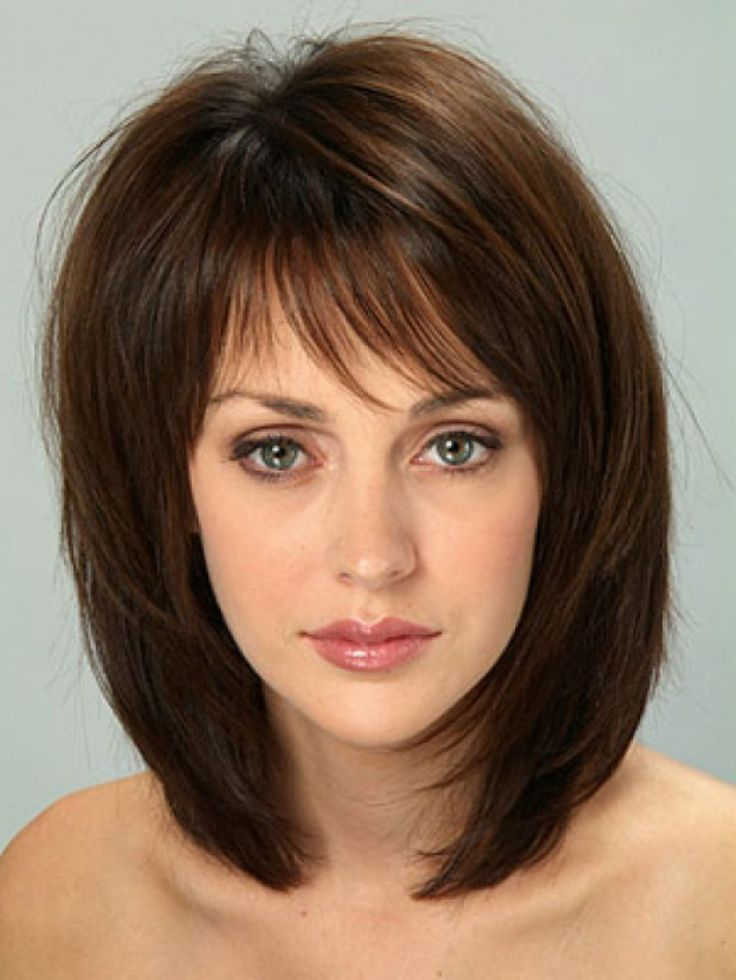 Medium hairstyle with fringe