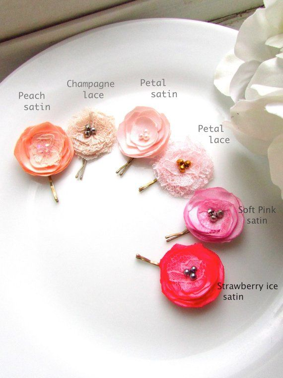 hair clips Coral flowered snap clips girl clips snap clips