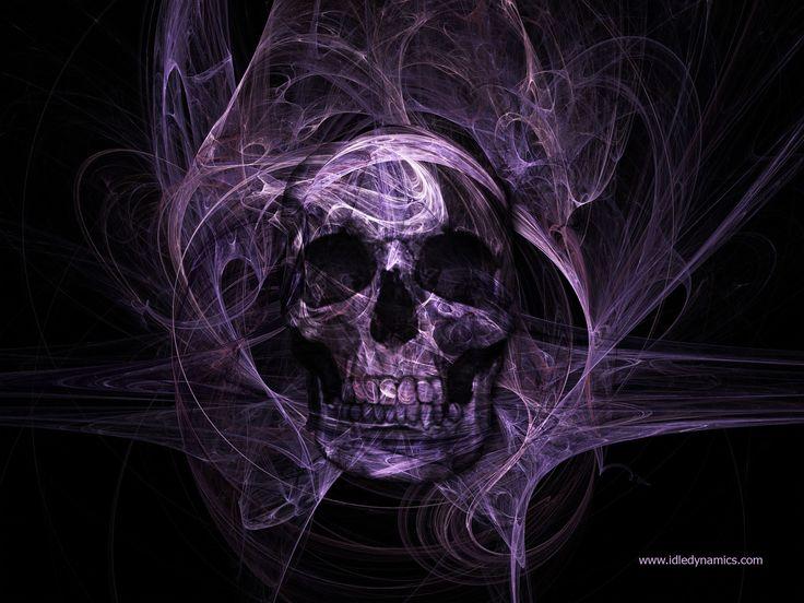 Escuridão Skull  Escuridão Cores Roxo Papel de Parede