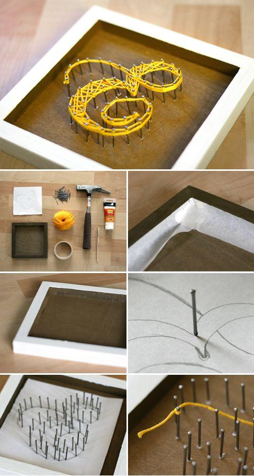 Yarn, nails, decoration, frame, DIY