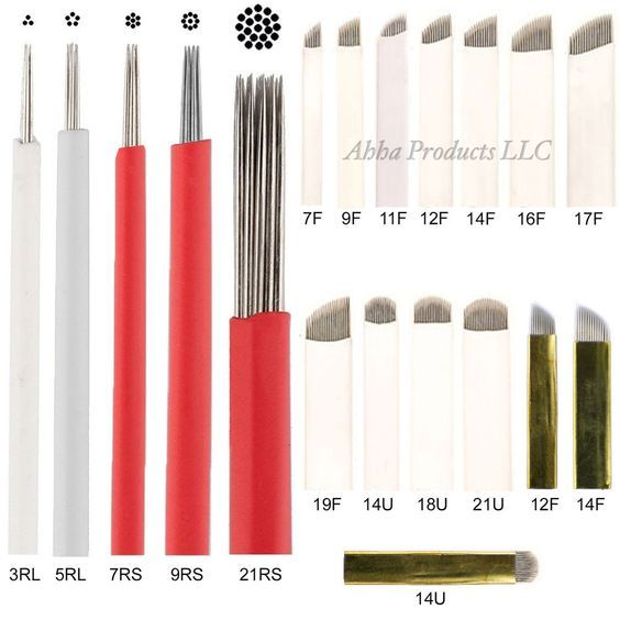 50pc Permanent Makeup Microblade Eyebrow Round Flat Curved Shader Tattoo Needles #AhhaProducts