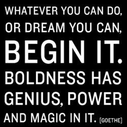Whatever you can do, or dream you can, begin it. Boldness has genius, power and magic in it -- Goethe