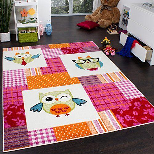 Teppich Kinderzimmer Trendige Eulen Kinderteppich Eule Mehrfarbig Pink Creme, Grösse:120x170 cm