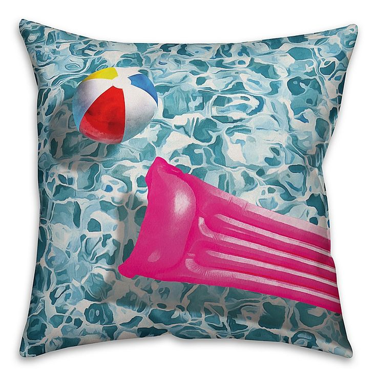 Designs Direct Pool Toy Indoor/outdoor Square Throw Pillow Blue
