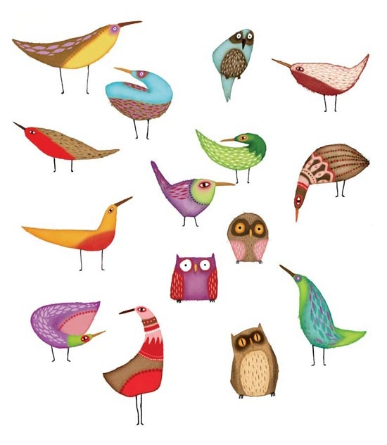 Click to enlarge illustration: Woodland Birds - Animals - Painted - Digital - Nature - Characters