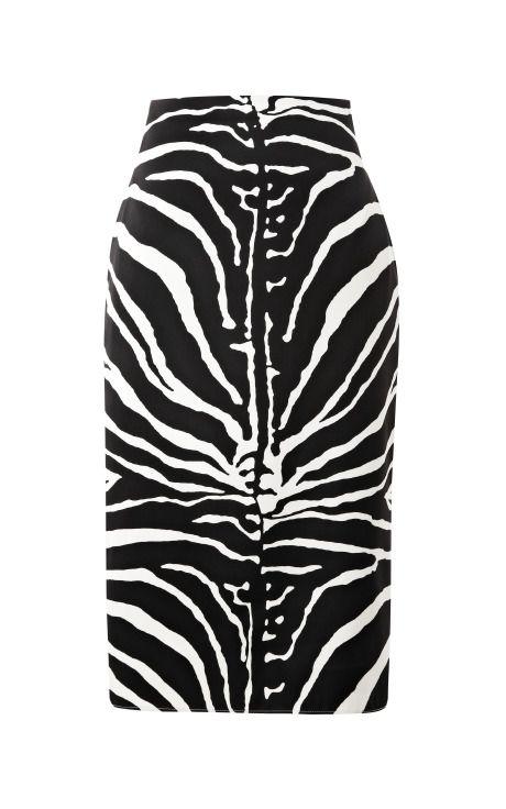 Shop Zebra-Print Satin Pencil Skirt by Carven Now Available on Moda Operandi