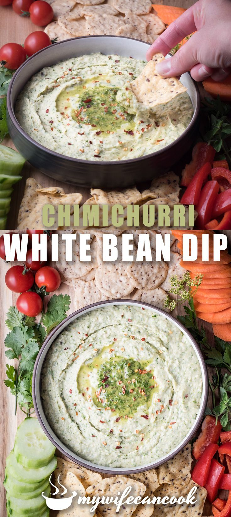 This hummus like white bean dip is full of fresh herbs for the garden and other ingredients found in chimichurri.  Serve as an appetizer with veggies or your favorite cracker/chip.  Vegan and gluten free too.