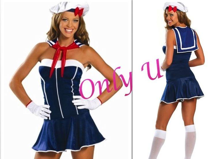 Sexy Sailor Halloween Dress Ups Party Sailor Blue Ruffled Dress Costume Hat
