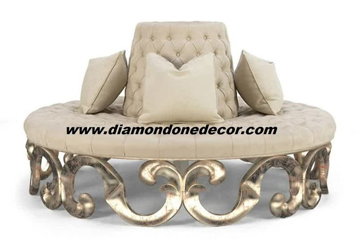 Glamorous round tufted baroque french reproduction rococo for Baroque reproduction furniture