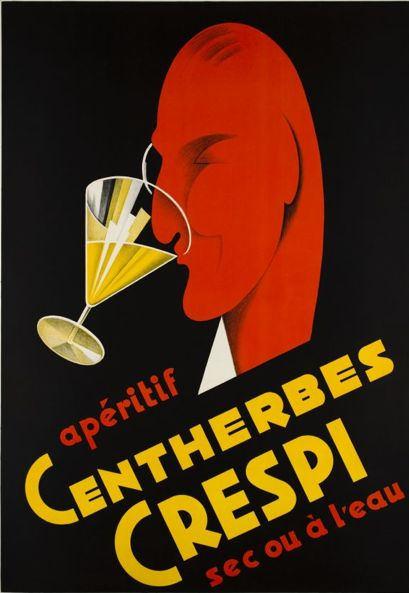 "By Reno, 1 9 4 5, Art Deco poster for a Swiss drink ""Hundred herbs Crespi"". (S)"