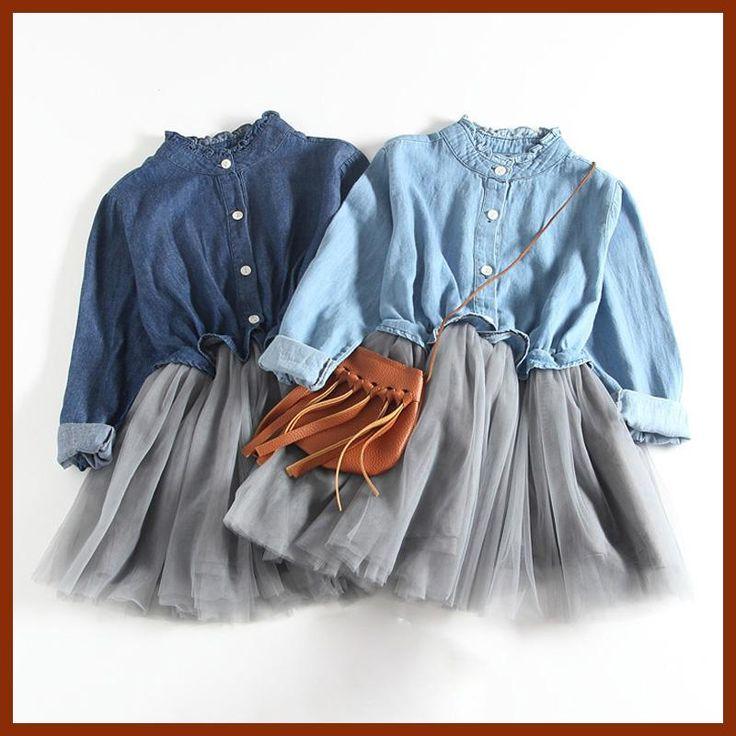 New 2017 Spring Autumn Baby Girl Dress Denim Mesh Patchwork Princess Girl Dress Long Sleeve Toddler Kids Dresses for Girls DQ612