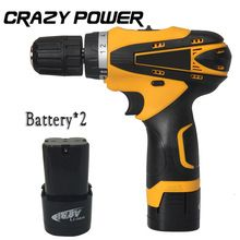 Crazypower 16.8V MINI Cordless drill Double Speed Lithium Battery*2 rechargeable cordless electric screwdriver power tool