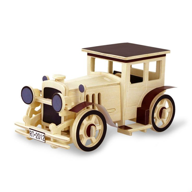 cheap 3d wooden flat top vintage car puzzle for kids adults