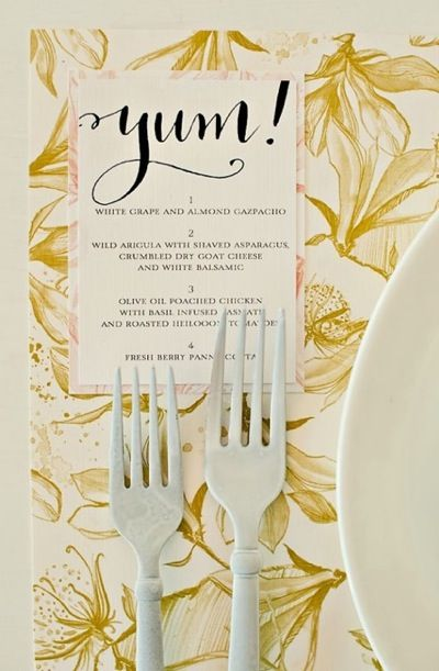 A menu card does not have to be boring! Make it match your overall theme and wedding style. Make all your wedding day signage reflect your personality!