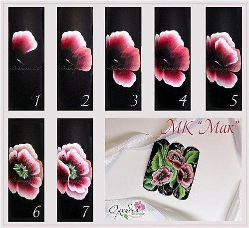 one stroke fleurs roses
