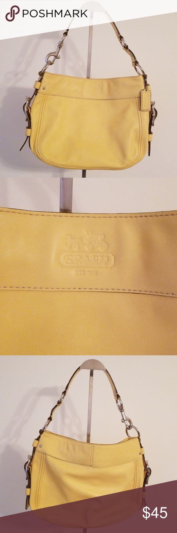 COACH Shoulder Bag Genuine Yellow Leather Authentic Coach Shoulder Bag 10″ x 13.5″ 9″ Drop Very Soft Leather Tan Lining  Top Zipper Closure  One Insid…