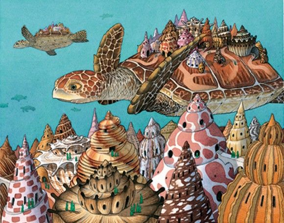 "David Wiesner ""Flotsam""....Wiesner is a children's book illustrator who has an incredible ability to tell a story through imagery with minimal words in his self-written books. His illustrations are so theatrical and enchanting!"