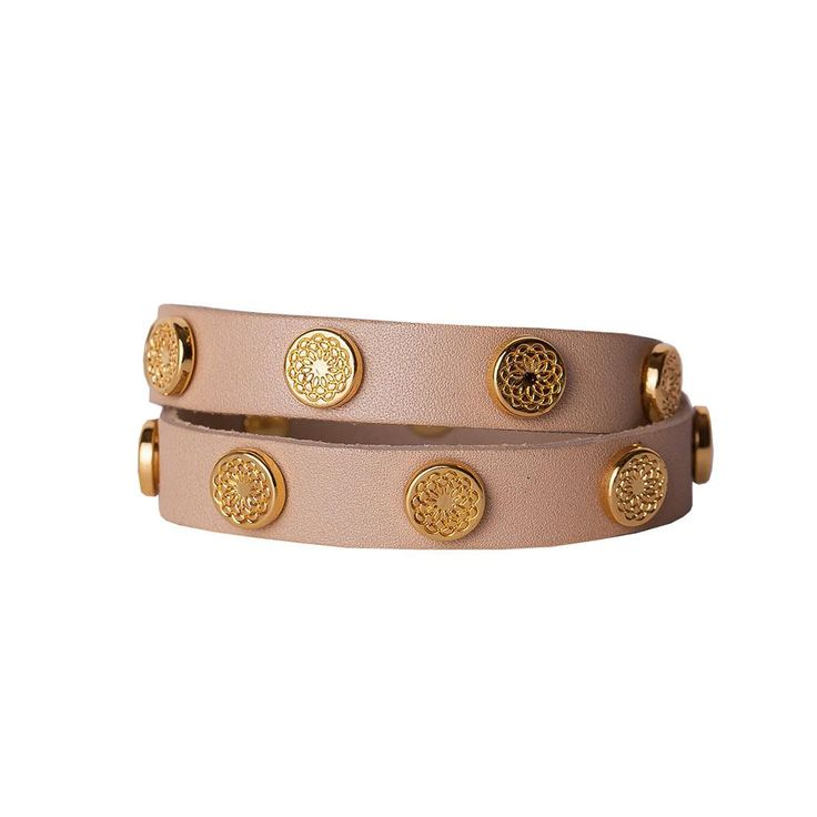Rewards like this come exclusively to Artist's Hosts: neutral-toned wrap with ample amounts of gold studs. Easy to wear and easy to pair with bangles, lockets, screens and charms.   Product Materials are Genuine Leather with Zinc Alloy studs.