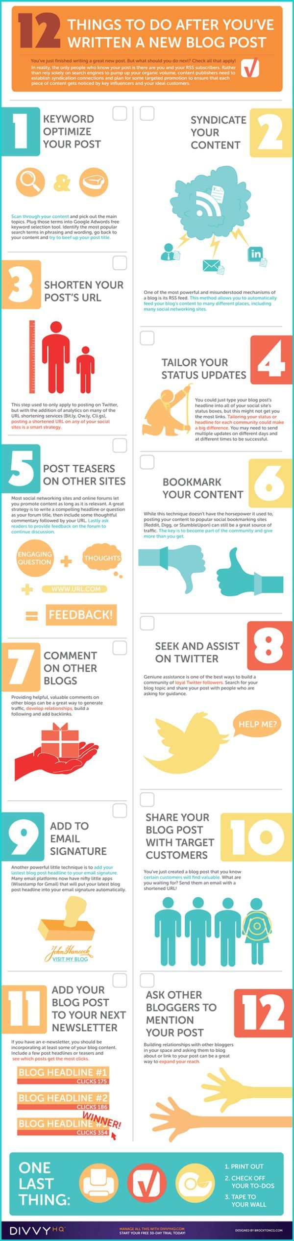 12 things to do after you've written a new blog post - fun colors and design on this infographic