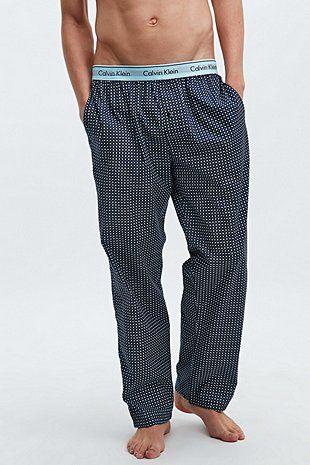 Calvin Klein - Bas de pyjama en tissu à pois bleu
