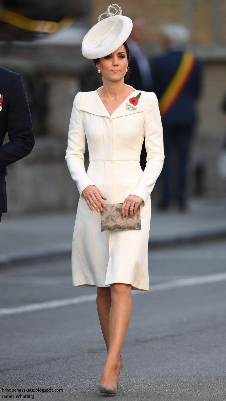 hrhduchesskate: Centenary of Passchendaele, Third Battle of Ypres, July 30, 2017-The Duchess of Cambridge wore repeats for the service-the Alexander McQueen coat for Princess Charlotte's christening in 2015, accessorized with taupe heels, the Anne Grand-Clement bag from the Germany tour,  the Lock & Co Marisabel hat worn in 2015, and Balenciaga pearl earrings and brooch worn in 2014.