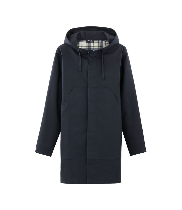 Rather loose fit. Five hidden buttons, metal hook closure at neckline. High  collar with large lined hood, adjusts with drawstring cu
